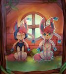blue_eyes commentary creature english_commentary facing_viewer frown full_body gen_6_pokemon glasses grass hood hoodie looking_at_viewer no_humans pokemon pokemon_(creature) salanchu serious signature sitting sylveon tree window