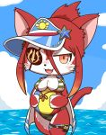 1girl animal_ears ball beachball bikini blush breasts cat cat_busters cat_ears cat_girl cat_tail clouds commentary_request cowboy_shot eyepatch fang furry highres hinozuki_(cat_busters) kaitendo ocean open_mouth orange_eyes ponytail red_fur sky solo striped striped_bikini swimsuit tail thick_thighs thighs two-tone_fur visor_cap whiskers white_fur