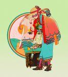 1girl aqua_kimono black_footwear braid camera full_body hat hat_ribbon japanese_clothes kimono looking_at_viewer obi original red_ribbon ribbon sash shoes solo standing suitcase sunglasses tentacles twin_braids ukumo_uichi