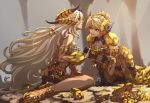 2girls all_fours anklet armlet armor armored_dress belt_pouch blonde_hair blue_eyes crab curled_horns fur_trim glint gloves gold gold_trim grey_hair hair_bun hair_ornament highres holding_hands horned_headwear interlocked_fingers jewelry kanrinin_(gyfp4747) kulve_taroth_(armor) kulve_taroth_(master_rank_armor) long_hair looking_at_another monster_hunter monster_hunter:_world multiple_girls open_mouth pouch profile red_eyes sandals scale_armor sideways_glance silver_hair sitting sleeveless sparkle thigh-highs toenails toes very_long_hair yokozuwari