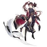 1girl absurdly_long_hair alternate_costume animal_print azur_lane bangs bird bird_print black_dress black_footwear black_gloves boots breasts brown_hair brown_legwear corset crane_(animal) cross-laced_footwear dress earrings enka_(bcat) eyebrows_visible_through_hair floating_hair flower fox_mask full_body gloves groin hair_flower hair_ornament half_gloves high_heel_boots high_heels holding holding_sword holding_weapon japanese_clothes jewelry katana knee_boots lace-up_boots large_breasts long_hair looking_at_viewer lowleg lowleg_panties mask mask_removed multiple_swords off_shoulder official_art open_mouth panties ponytail purple_panties shoulder_strap side_slit sidelocks skindentation sleeveless smile string_panties sword tachi-e thigh-highs transparent_background underwear very_long_hair weapon wind yellow_eyes zuikaku_(azur_lane) zuikaku_(festive_crane)_(azur_lane)