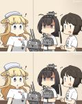 ! /\/\/\ 3girls ahoge akizuki_(kantai_collection) alternate_costume black_hair blonde_hair blue_eyes breast_conscious breast_press breasts brown_eyes brown_hair casual chou-10cm-hou-chan clothes_writing commentary_request dated double_bun fletcher_(kantai_collection) hair_ornament hamu_koutarou headband highres kantai_collection large_breasts looking_at_another looking_down miyuki_(kantai_collection) motion_lines multiple_girls ponytail shaded_face shirt short_hair signature small_breasts spoken_exclamation_mark standing translation_request turtleneck upper_body white_headwear white_shirt