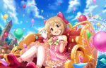1girl amusement_park balloon bow brown_eyes brown_hair dress ferris_wheel frilled_dress frilled_gloves frilled_skirt frills gloves hair_bow hair_ornament hand_on_own_chest idolmaster idolmaster_cinderella_girls looking_at_viewer open_mouth shoes short_hair skirt thigh-highs white_gloves