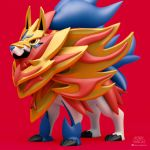 3d claws commentary dog dog_focus english_commentary full_body gen_8_pokemon henry_vargas highres legendary_pokemon pokemon red_background signature simple_background solo standing yellow_eyes zamazenta zamazenta_(crowned)