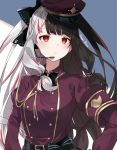 1girl bangs belt black_bow black_hair blush bow dress hair_bow hands_on_hips headset highres hikari_yui long_hair long_sleeves looking_at_viewer military military_uniform multicolored_hair nijisanji open_mouth parted_lips red_dress red_eyes red_headwear redhead silver_hair solo standing streaked_hair twintails two-tone_hair uniform virtual_youtuber yorumi_rena