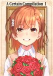 1girl :d bangs blush bouquet brown_eyes brown_hair collared_shirt commentary_request english_text eyebrows_visible_through_hair flower grin hair_flower hair_ornament misaka_mikoto open_mouth outside_border picture_frame raika9 red_flower red_rose roman_numerals rose shirt short_hair smile solo sweater_vest teeth to_aru_kagaku_no_railgun to_aru_majutsu_no_index upper_body white_flower white_shirt wing_collar