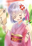 1girl anger_vein bangs blush breasts closed_eyes face_painting fate/grand_order fate_(series) floral_print hagoita hair_ribbon hane_(hanetsuki) hanetsuki highres japanese_clothes kama_(fate/grand_order) kimono light_rays long_sleeves obi open_mouth paddle pink_kimono ribbon sash short_hair silver_hair small_breasts solo trembling wide_sleeves zenshin