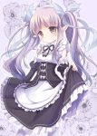 1girl absurdres apron bangs blush brown_eyes chibitan dress eyebrows_visible_through_hair frilled_apron frilled_dress frills highres hikawa_kyouka long_hair looking_at_viewer maid_dress pointy_ears princess_connect! princess_connect!_re:dive purple_hair solo twintails white_legwear