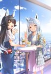 2girls ahoge alternate_costume animal_ear_fluff animal_ears backpack bag black_hair blue_sky braid cafe casual cityscape claw_pose clouds collarbone commentary_request contemporary cup denim denim_skirt disposable_cup drinking_straw eyebrows_visible_through_hair fox_ears fox_shadow_puppet green_eyes green_nails grin hair_between_eyes handbag high-waist_skirt highres hololive indoors jacket kanya_pyi long_hair looking_at_viewer medium_hair multicolored_hair multiple_girls nail_polish narrowed_eyes ookami_mio open_clothes open_jacket open_mouth pink_skirt pleated_skirt red_nails redhead shirakami_fubuki shirt short_sleeves side_braid silver_hair skirt sky smile standing streaked_hair table virtual_youtuber white_shirt window wolf_ears yellow_eyes