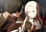 1boy 1girl black_coat black_hair bow capelet coat commentary_request edelgard_von_hresvelg eyebrows_visible_through_hair eyelashes finger_to_mouth fire_emblem fire_emblem:_three_houses forehead garreg_mach_monastery_uniform gloves hair_bow hair_over_one_eye hair_ribbon hubert_von_vestra lips long_hair long_sleeves looking_at_another mueririko open_mouth parted_lips purple_bow purple_ribbon red_capelet ribbon short_hair uniform violet_eyes white_gloves white_hair