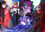 3boys 3girls archer artoria_pendragon_(all) ayanami_rei ayanami_rei_(cosplay) bandage_over_one_eye bandages black_bodysuit black_hair blonde_hair blue_bodysuit blue_eyes blue_hair bodysuit bow braid brown_hair closed_mouth cosplay cu_chulainn_(fate)_(all) emiya_shirou expressionless eyepatch fate/stay_night fate_(series) french_braid g0ringo gloves grey_eyes grin hair_bow hair_bun ikari_shinji ikari_shinji_(cosplay) lancer leg_hug long_hair matou_sakura multiple_boys multiple_girls neon_genesis_evangelion one_eye_closed plugsuit ponytail print_eyepatch purple_hair reclining red_bodysuit red_bow red_eyes saber short_hair signature sitting smile souryuu_asuka_langley souryuu_asuka_langley_(cosplay) toosaka_rin violet_eyes white_bodysuit white_hair yellow_eyes