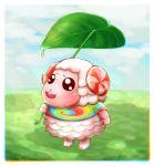 1boy absurdres blush chachamaru_(doubutsu_no_mori) clouds doubutsu_no_mori furry grass highres horns leaf open_mouth sanomi_pori sheep sheep_horns sky solo teeth