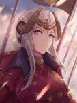 1girl banner breasts closed_mouth day double_bun dress edelgard_von_hresvelg eyebrows_visible_through_hair fake_horns fire_emblem fire_emblem:_three_houses hair_ornament headpiece leonmandala looking_at_viewer medium_breasts motion_blur outdoors red_dress serious short_hair_with_long_locks sidelocks silver_hair solo upper_body v-shaped_eyebrows violet_eyes