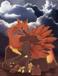 bird bird_focus black_cloud black_eyes claws clouds cloudy_sky commentary english_commentary galarian_form galarian_zapdos gen_2_pokemon gen_3_pokemon gen_8_pokemon highres legendary_pokemon looking_at_viewer natu outdoors pokemon rock sky standing standing_on_one_leg takoto_(luke_burns) torchic watermark web_address