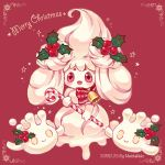 :d alcremie bell candy candy_cane christmas commentary creature dated english_commentary food full_body gen_8_pokemon happy holding holding_candy_cane matchaneko no_humans open_mouth pokemon pokemon_(creature) red_eyes signature simple_background smile solo sparkle star