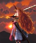 1girl backlighting bangs big_hair blue_skirt breasts broken broken_chain chain cloud_print clouds cloudy_sky cuffs cup fingernails grin highres horn hoshiguma_yuugi huge_weapon large_breasts leaf_print long_fingernails long_hair long_skirt looking_to_the_side mountain no_shirt oni orange_hair orange_sky over_shoulder parted_bangs pointy_ears red_eyes red_nails sakazuki sarashi shackles sharp_fingernails sheath side_slit sidelocks silhouette skirt sky smile solo stomach strong sun sunlight sunset sunyup touhou twilight unsheathed very_long_hair weapon
