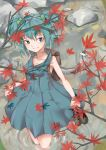 absurdres autumn autumn_leaves backpack bag blue_eyes blue_hair blue_shirt hair_ornament highres kawashiro_nitori mechanical_arm nature outdoors power_(powwwer) rock shirt shoes_on_hands sleeveless soaking_feet solo standing stream touhou water