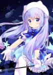 1girl absurdres bangs blue_bow blue_eyes blue_hair blue_skirt blue_vest blush bow brooch character_hat closed_mouth clouds collared_shirt commentary_request dress_shirt eyebrows_visible_through_hair frilled_skirt frills gloves gochuumon_wa_usagi_desu_ka? gradient_hair hair_between_eyes hair_ornament hat highres holding holding_spoon jewelry kafuu_chino long_hair magical_girl multicolored_hair nakkar pantyhose puffy_short_sleeves puffy_sleeves purple_hair shirt short_sleeves skirt smile solo sparkle spoon star starry_background tippy_(gochiusa) very_long_hair vest white_gloves white_headwear white_legwear white_shirt x_hair_ornament