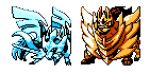 commentary creature dog dog_focus english_commentary full_body gen_8_pokemon legendary_pokemon no_humans pat_attackerman pixel_art pokemon pokemon_(creature) simple_background sprite white_background zacian zacian_(crowned) zamazenta zamazenta_(crowned)
