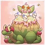 ;) alcremie alternate_color appletun closed_mouth commentary creature cutiefly english_commentary flying full_body gen_5_pokemon gen_7_pokemon gen_8_pokemon highres jonathan-ark litwick looking_at_viewer no_humans one_eye_closed pink_background pokemon pokemon_(creature) shiny_pokemon simple_background smile