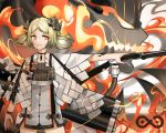 1girl arknights bangs black_choker blonde_hair breasts canister chinese_commentary choker closed_mouth coat cowboy_shot demon demon_horns doc.chen english_text eyebrows_visible_through_hair fire flamethrower gas_tank high-waist_skirt horns ifrit_(arknights) jewelry lips looking_to_the_side medium_hair necklace orange_eyes ore_lesion_(arknights) outstretched_arm parted_bangs rhine_lab_logo skirt small_breasts smile solo spirit striped thighs twintails vertical_stripes weapon white_coat white_skirt