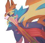commentary creature dog dog_focus english_commentary gen_8_pokemon legendary_pokemon mouth_hold no_humans pokemon pokemon_(creature) salanchu simple_background solo sword upper_body weapon white_background yellow_eyes zacian zacian_(crowned)