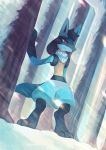 closed_mouth commentary commission creature dutch_angle english_commentary full_body gen_4_pokemon lucario no_humans pokemon pokemon_(creature) salanchu serious snow solo standing violet_eyes winter
