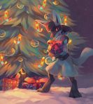 box christmas christmas_ornaments christmas_tree commentary commission creature english_commentary full_body gen_4_pokemon gift holding holding_box holding_gift looking_at_viewer lucario no_humans pokemon pokemon_(creature) salanchu solo standing