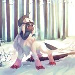 absol bare_tree claws commentary commission creature english_commentary forest full_body gen_3_pokemon nature no_humans outdoors pokemon pokemon_(creature) salanchu snow solo standing sunglasses tree violet_eyes winter