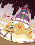1girl alcremie blonde_hair blue_ribbon boots commentary creature crossover english_commentary gen_8_pokemon gigantamax gigantamax_alcremie holding holding_poke_ball lareindraws magical_girl mahou_shoujo_madoka_magica poke_ball poke_ball_(generic) pokemon pokemon_(creature) ribbon standing star tomoe_mami