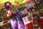 2girls :d absurdres back_bow bangs bird bird_on_hand blue_kimono bow brown_hair bush closed_mouth commentary_request dutch_angle fan floral_print flower geta grey_eyes hair_flower hair_ornament highres holding holding_fan huge_filesize japanese_clothes kazuno_leah kazuno_sarah kimono leaf looking_back love_live! love_live!_school_idol_project love_live!_sunshine!! multiple_girls obi open_mouth orein oriental_umbrella outdoors print_kimono red_eyes red_kimono rock saint_snow sash siblings side_ponytail sisters sitting smile standing tree twintails umbrella upper_teeth water waterfall wide_sleeves yukata