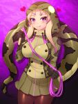 1girl :q african_rock_python_(kemono_friends) animal_print blonde_hair blush breasts brown_legwear closed_mouth collared_jacket cowboy_shot drawstring fishnet_legwear fishnets gradient green_skirt hand_up heart high_collar highres holding holding_whip hood hood_up hooded_jacket impossible_clothes impossible_jacket jacket kemono_friends licking_lips long_hair long_sleeves looking_at_viewer miniskirt multicolored_hair pantyhose print_jacket purple_hair skirt smile snake_print snake_tail solo tail tongue tongue_out totokichi two-tone_hair violet_eyes whip zipper
