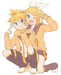 1boy 1girl arm_around_neck bangs black_collar black_shorts blonde_hair blue_eyes bow cardigan collar commentary crop_top fang hair_bow hair_ornament hairclip hands_up headphones highres hug hug_from_behind kagamine_len kagamine_rin kneeling leg_warmers looking_at_viewer m0ti nail_polish neckerchief necktie one_eye_closed open_mouth orange_cardigan sailor_collar school_uniform shirt short_hair short_ponytail short_shorts shorts smile spiky_hair squatting sweater swept_bangs v vocaloid white_bow white_footwear white_shirt yellow_nails yellow_neckwear