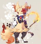 absurdres animal_ear_fluff animal_ears blue_ribbon braixen brooch claws clothed_pokemon commentary_request crystal detached_sleeves fire floral_print flower fox_ears fox_tail full_body furry gem gen_6_pokemon glint gohei grey_background hair_flower hair_ornament hair_tubes highres holding ice japanese_clothes jewelry looking_at_viewer mismatched_legwear mismatched_sleeves no_humans one_eye_closed pawpads paws pokemon pokemon_(creature) purple_ribbon red_eyes red_flower red_ribbon ribbon ribbon-trimmed_sleeves ribbon_trim ruby_(gemstone) shide simple_background socks solo standing stick tail toeless_legwear two-tone_background wide_sleeves xxxkuroraxxx