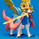 3d blue_background claws commentary dog dog_focus english_commentary full_body gen_8_pokemon henry_vargas highres legendary_pokemon mouth_hold pokemon signature simple_background solo standing sword weapon yellow_eyes zacian zacian_(crowned)