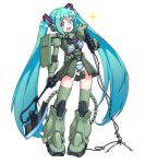 +_+ 1girl aqua_eyes aqua_hair artist_name axe bra full_body gundam hair_between_eyes hatsune_miku long_hair mecha_musume microphone microphone_stand open_mouth panties simple_background skirt solo striped striped_bra striped_panties takada_kazuhiro thigh-highs twintails underwear very_long_hair vocaloid white_background zaku