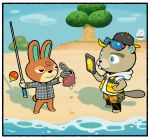 3others animal animal_crossing animal_crossing_new_horizons atsumare:_doubutsu_no_mori backwards_hat baseball_cap beach beaver cellphone doubutsu_no_mori dripping eyewear_on_head fishing_rod hamster hat hood hoodie justin_(doubutsu_no_mori) mammal nintendo nintendo_ead no_humans phone plaid plaid_shirt rabbit shirimoto shirt shorts smartphone sunglasses tin_can tree vinegar_(doubutsu_no_mori) you're_doing_it_wrong yukimi_(doubutsu_no_mori)