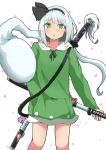 1girl alternate_costume bangs collarbone cropped_legs drawstring expressionless eyebrows_visible_through_hair flower green_eyes green_hoodie hand_on_hilt highres hood hood_down hoodie konpaku_youmu konpaku_youmu_(ghost) medium_hair mizune_(winter) parted_lips petals scabbard sheath silver_hair simple_background solo standing sword touhou weapon white_background