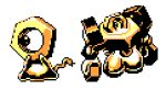 commentary creature english_commentary full_body gen_7_pokemon lowres melmetal meltan mythical_pokemon no_humans pat_attackerman pixel_art pokemon pokemon_(creature) simple_background sprite white_background
