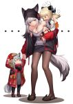3girls absurdres adult_baby am1m animal_ears arknights beanie behind-the-head_headphones black_legwear coat ears_through_headwear frostleaf_(arknights) fur-trimmed_hood fur_trim grey_shirt hat headphones highres hood hooded_coat hooded_jacket ifrit_(arknights) jacket mask_around_neck multiple_girls owl_ears pencil_skirt projekt_red_(arknights) red_coat red_eyes red_jacket red_sleeves shirt silver_hair skirt tail wolf_ears wolf_girl wolf_tail younger