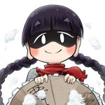 1girl ajirogasa avatar_icon bangs black_hair blunt_bangs blush braid capelet chamaji clothes_writing commentary dress earlobes eyebrows_visible_through_hair grey_dress hat holding holding_hat long_hair looking_at_viewer lowres red_capelet shaded_face signature smile snow solo touhou twin_braids upper_body white_background yatadera_narumi