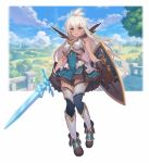 1girl armor bangs brown_eyes brown_gloves gloves granblue_fantasy hair_between_eyes highres holding holding_sword holding_weapon kakage long_hair open_mouth outdoors plant shield smile solo sword tan thigh-highs tree weapon white_hair zooey_(granblue_fantasy)