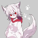 1girl alternate_costume animal_ear_fluff animal_ears bangs chewing colored_eyelashes expressionless gla grey_background hair_between_eyes hands_in_pockets hood hood_down hoodie inubashiri_momiji long_sleeves looking_to_the_side paw_background paw_print pom_pom_(clothes) print_hoodie red_eyes red_hood short_eyebrows short_hair silver_hair sketch solo tail touhou upper_body white_hoodie wolf_ears wolf_tail