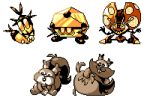 :3 :o blipbug closed_mouth commentary creature dottler english_commentary full_body gen_8_pokemon greedent looking_at_viewer no_humans orbeetle pat_attackerman pokemon pokemon_(creature) simple_background sitting skwovet squirrel white_background