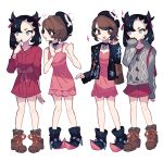 2girls :d bag black_footwear black_hair brown_eyes brown_footwear brown_hair charamells commentary cosplay costume_switch dress english_commentary flat_chest full_body highres looking_at_another mary_(pokemon) multiple_girls open_mouth pink_dress pokemon shoes simple_background smile standing white_background yuuri_(pokemon)