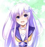 1girl arms_behind_back bangs collar collarbone commentary_request d-pad d-pad_hair_ornament doria_(p_f_dolia) dress eyebrows_visible_through_hair hair_between_eyes hair_ornament highres long_hair looking_at_viewer neckerchief nepgear neptune_(series) open_mouth purple_hair sailor_collar sailor_dress sidelocks smile solo violet_eyes white_dress yellow_neckwear