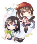 2girls absurdres animal apron bangs barefoot black_hair black_legwear blue_eyes blue_sailor_collar blue_shirt blue_shorts blue_skirt blush book bookmark bow cat chibi closed_mouth commentary_request cup eyebrows_visible_through_hair finger_to_mouth flower frying_pan hair_between_eyes hair_flower hair_ornament hairclip head_scarf highres holding holding_book long_hair long_sleeves milk mug multiple_girls no_shoes open_book original pink_apron pleated_skirt ponytail red_bow red_eyes sailor_collar school_uniform serafuku shiro_kuma_shake shirt short_shorts shorts shushing sitting skirt slippers smile standing star star_hair_ornament steam thigh-highs very_long_hair white_flower yellow_footwear