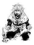 1boy belt capelet dagger fur-trimmed_capelet fur_trim greyscale kneeling knife male_focus monochrome open_mouth pants planted_knife planted_weapon ruukii_drift sanpaku scabbard sheath simple_background solo thorfinn vinland_saga waist_cape weapon white_background wide-eyed