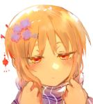 1girl blonde_hair blush buttoniris closed_mouth commentary english_commentary flower hair_flower hair_ornament hairpin hands_up jitome orange_eyes original portrait purple_flower purple_scarf scarf simple_background solo two_(buttoniris) white_background
