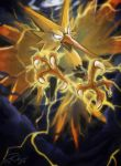 2016 bird bird_focus blank_eyes claws electricity flying gen_1_pokemon legendary_pokemon looking_at_viewer pokemon pokemon_(creature) signature tia_(iris-sempi) zapdos